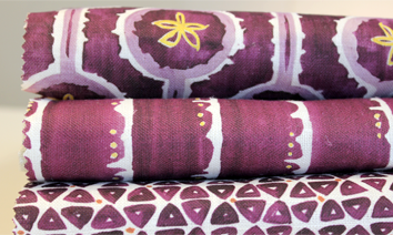 purple fabric swatches - leap, deckledot, tridot
