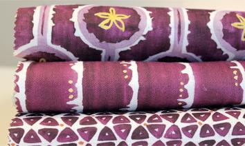 purple fabric swatches - leap, deckledot, tridot