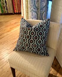 Leap pillow in Blended Blue showroom