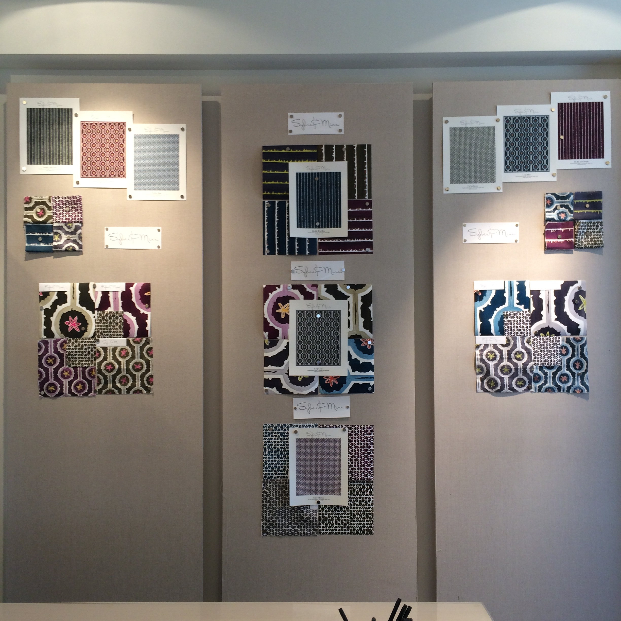 Inspiration Wall of Sylvie and Mira at Pollack NY Showroom