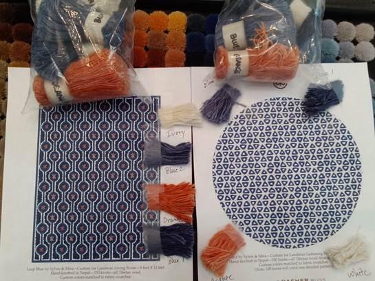 Custom rug renderings and yarn moms by Sylvie and Mira