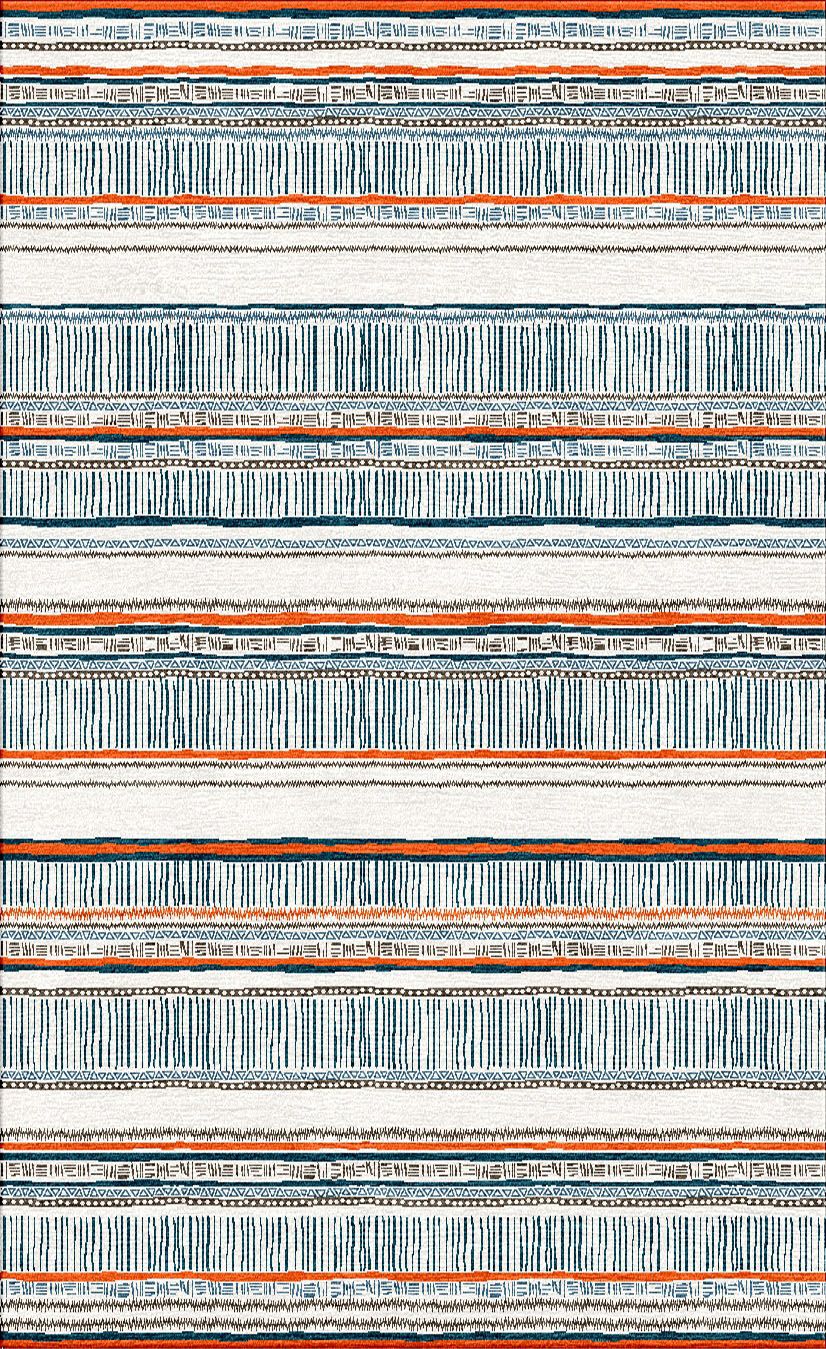 Sylvie&Mira Rug Savannah Chocolate Blue Orange