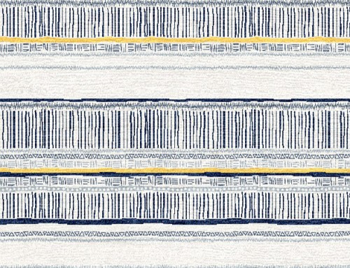 SylvieAndMira Savannah Stripe Navy / Slate / Yellow Rug