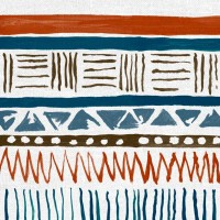 Savannah Fabric Chocolate Blue Orange