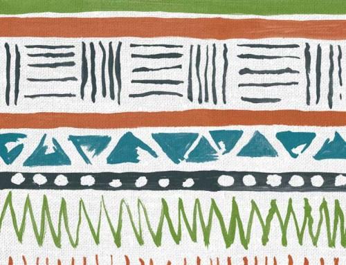 SylvieAndMira Savannah Stripe Coral / Aqua Fabric