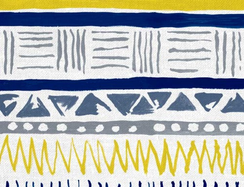 SylvieAndMira Savannah Stripe Navy / Slate / Yellow Fabric