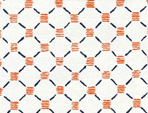 SylvieAndMira Stitches Orange Blue Rug