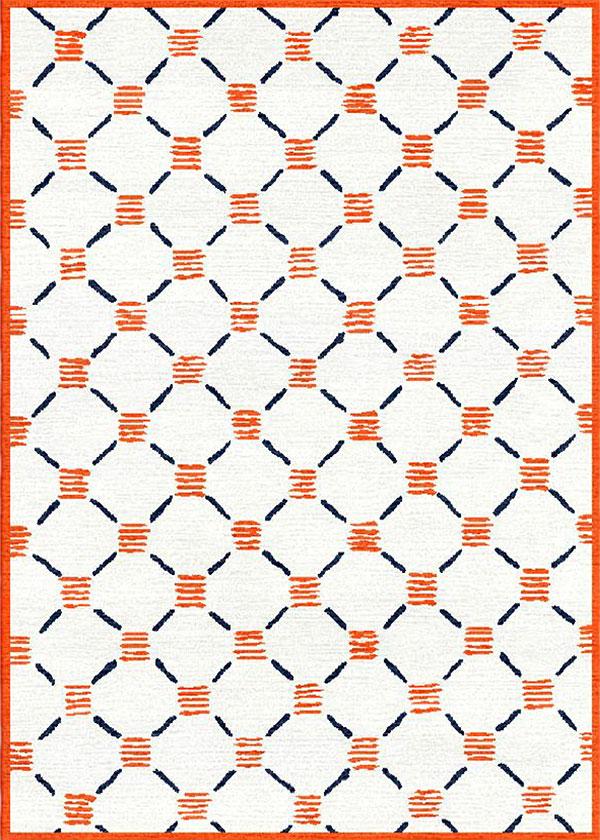 Stitches Orange Blue Rug