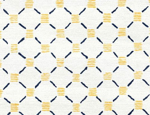 SylvieAndMira Stitches Yellow Navy wool Rug