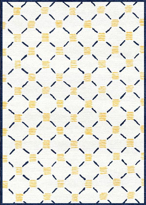 Stitches Yellow Navy Rug