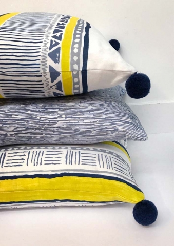 Savannah Stripe Navy Slate Yellow and Echo Slate Pillows