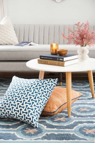 Leap Blue Rug and Toggle Aqua and Custom Birches Pillows