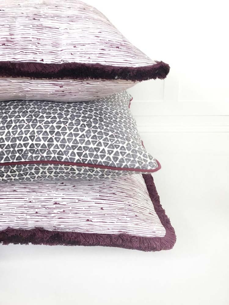 Birches Aubergine and TriDot Purple Pillows