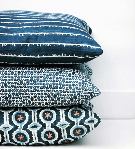 Blue Deckle Dot TriDot and Leap Pillows